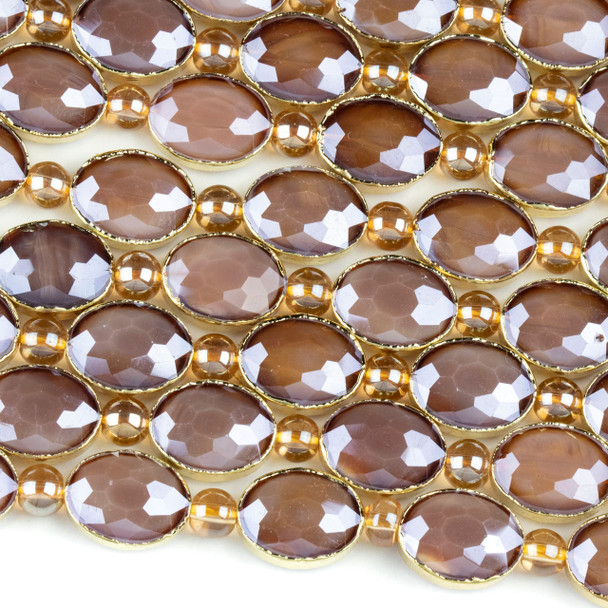Crystal 12x16mm Opaque Brown Faceted Oval Beads with Golden Foil Edges - 8 inch strand