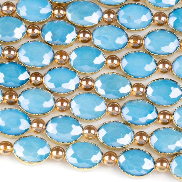 Crystal 12x16mm Opaque Turquoise Blue Faceted Oval Beads with Golden Foil Edges - 8 inch strand