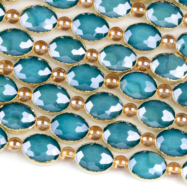 Crystal 12x16mm Opaque Blue Faceted Oval Beads with Golden Foil Edges - 8 inch strand