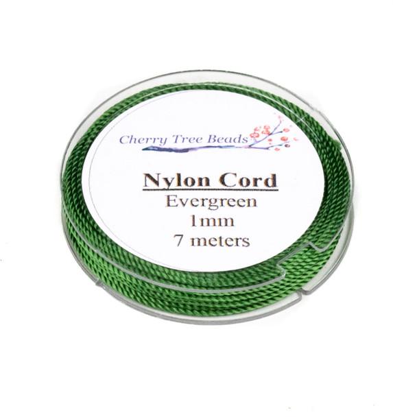 Nylon Cord - Evergreen , 1mm, 7 meter spool