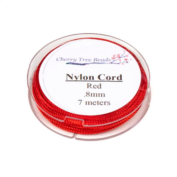 Nylon Cord - Red, .8mm, 7 meter spool