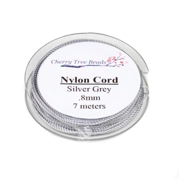 Nylon Cord - Silver Grey, .8mm, 7 meter spool