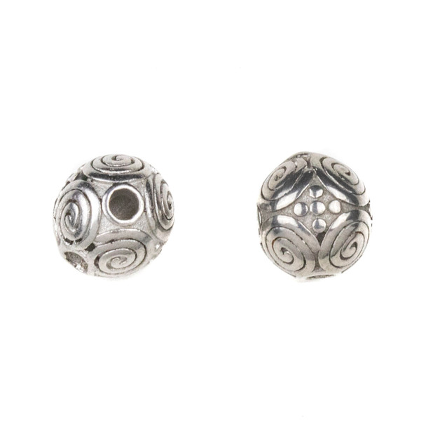 Natural Stainless Steel 10mm Guru Bead with Spirals - ZN-65921, 1 per bag