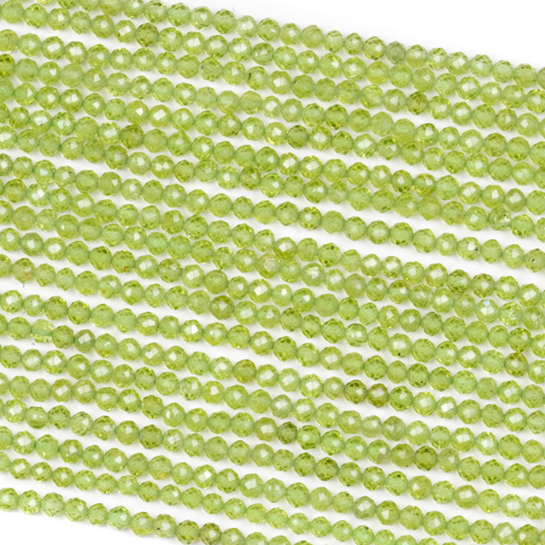 Peridot 3.6mm Faceted Round Beads - 15 inch strand