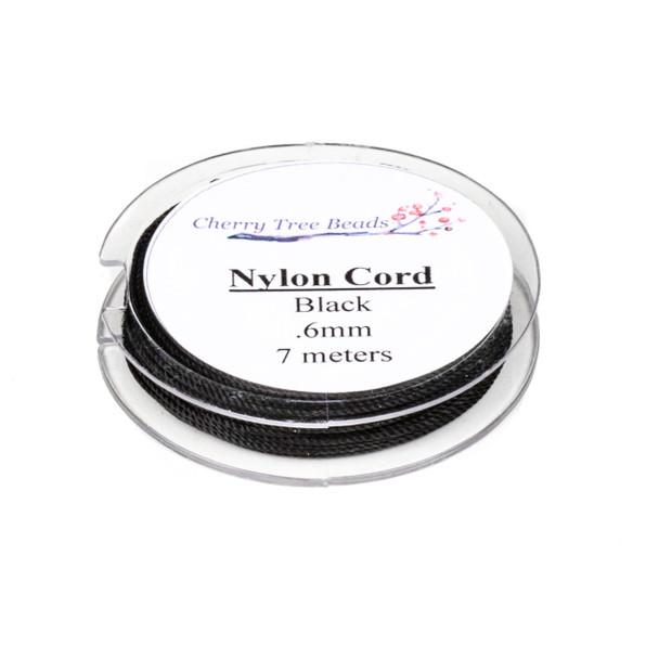 Nylon Cord - Black, .6mm, 7 meter spool