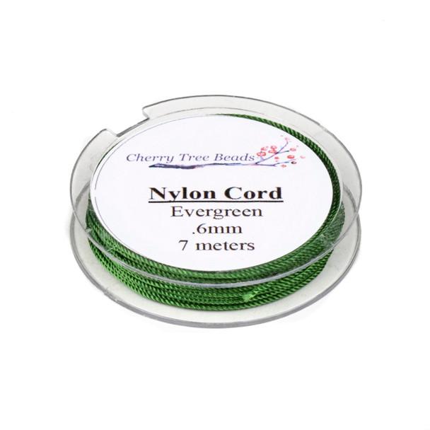 Nylon Cord - Evergreen , .6mm, 7 meter spool