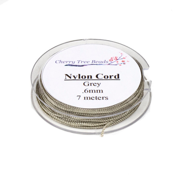 Nylon Cord - Grey, .6mm, 7 meter spool