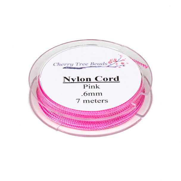 Nylon Cord - Pink, .6mm, 7 meter spool