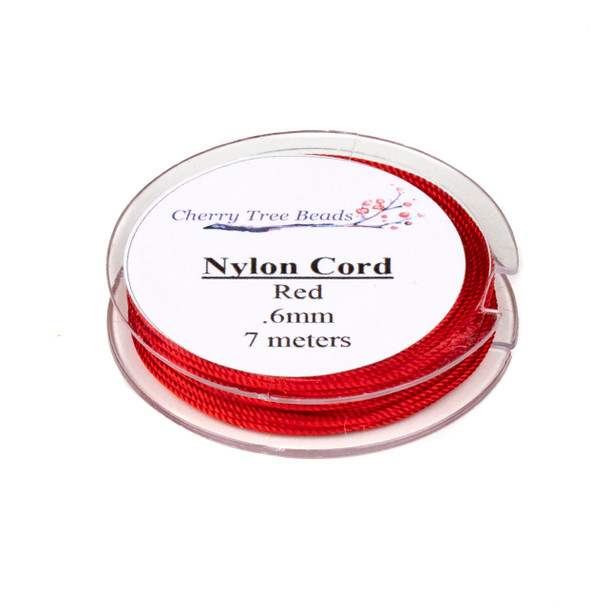 Nylon Cord - Red, .6mm, 7 meter spool