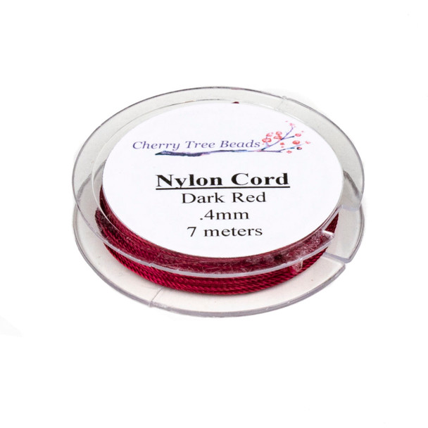 Nylon Cord - Dark Red, .4mm, 7 meter spool