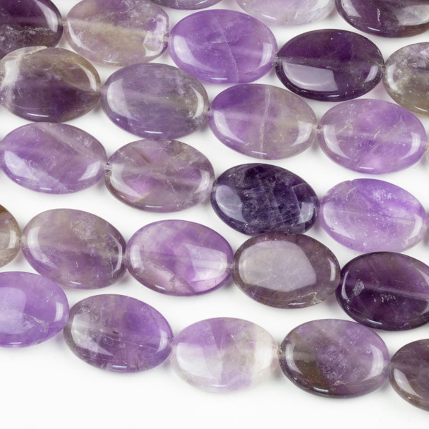 Amethyst 13x19mm Oval Beads - 16 inch mixed strand