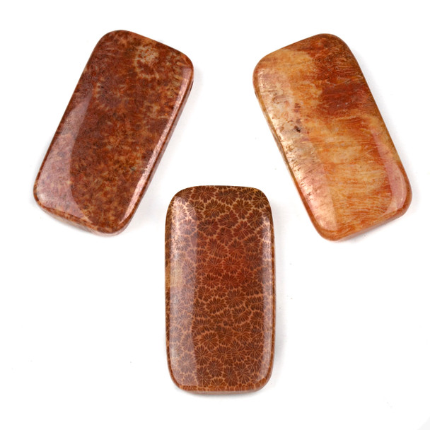 Red Fossilized Coral 20x39mm Top Drilled Rectangle Pendant - 1 per bag