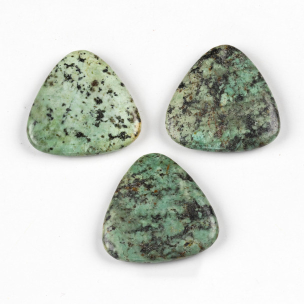African Turquoise 40mm Top Drilled Triangle Flag Pendant - 1 per bag