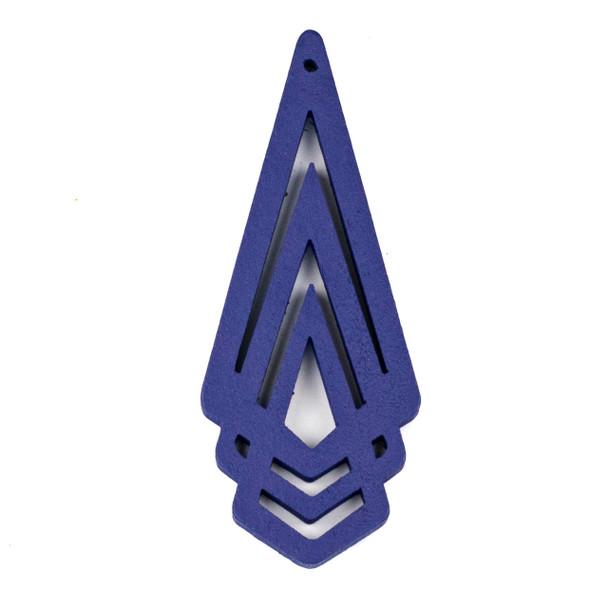 Aspen Wood Laser Cut 29x72mm Blue Layered Geometric Pendant - 1 per bag
