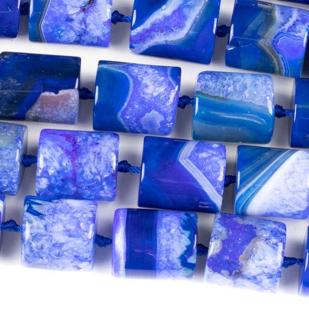 Dyed Agate 20x22mm Blue Tube Beads - 16 inch knotted strand