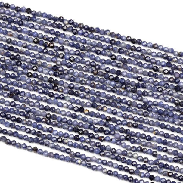 Sapphire 2mm Faceted Round Beads - 15 inch strand