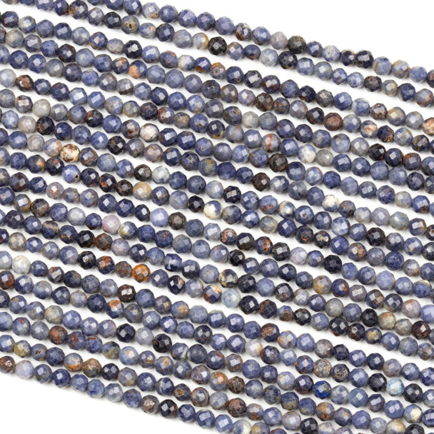 Sapphire 3mm Faceted Round Beads - 15 inch strand