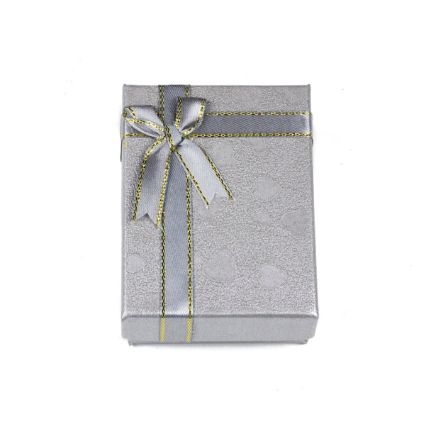 """Jewelry Gift Box - Silver with Hearts and Ribbon, 2.5x3.5"""""""