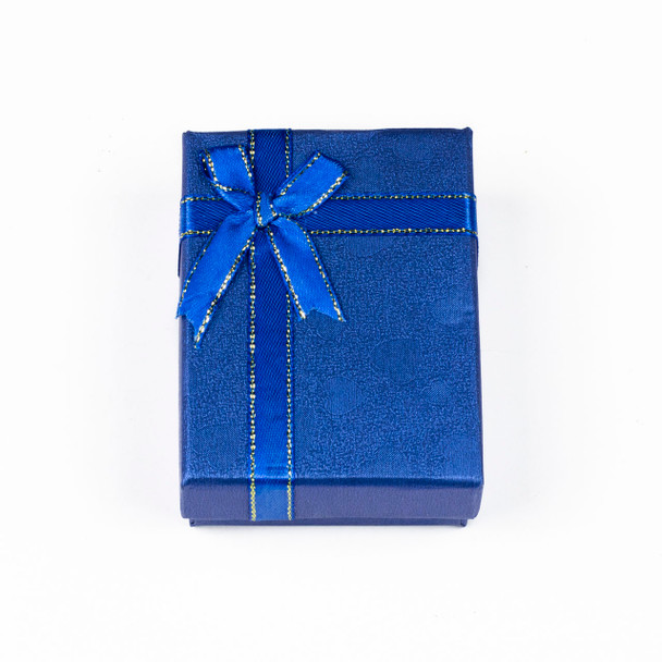 """Jewelry Gift Box - Blue with Hearts and Ribbon, 2.5x3.5"""""""