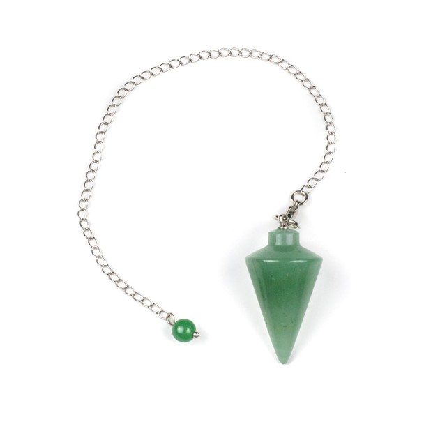 "Green Aventurine 20x38mm Pendulum with 6.5"" Silver Plated Brass and 6mm Round Bead - 1 per bag"