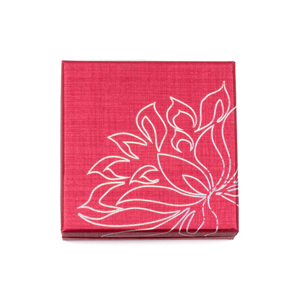 """Jewelry Gift Box - Red with Silver Lotus, 3.3x3.3"""""""
