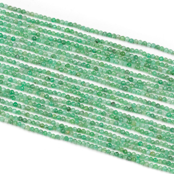 Emerald 2mm Faceted Round Beads - 15 inch strand