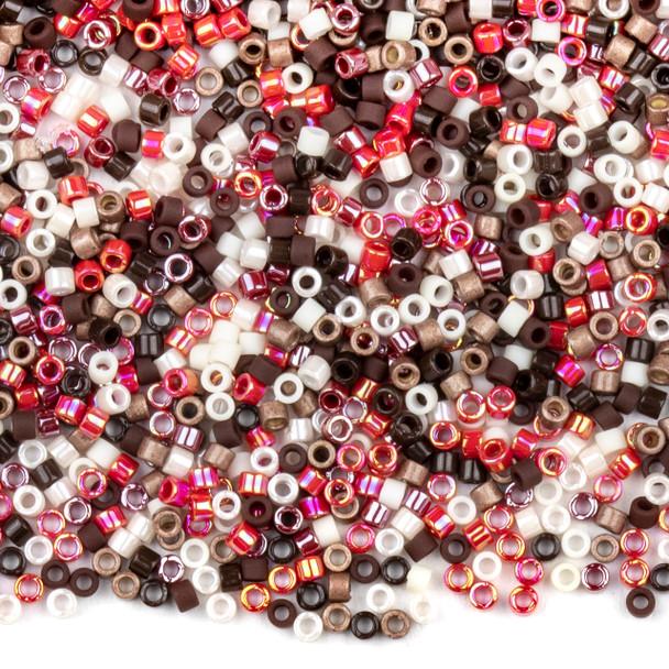Miyuki 11/0 Chocolate Covered Cherries Mix Delica Seed Beads - #MIX9001, 7.2 gram tube