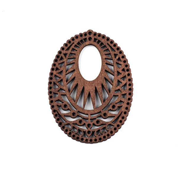 Aspen Wood Laser Cut 51x69mm Dark Brown Intricate Oval Pendant - 1 per bag