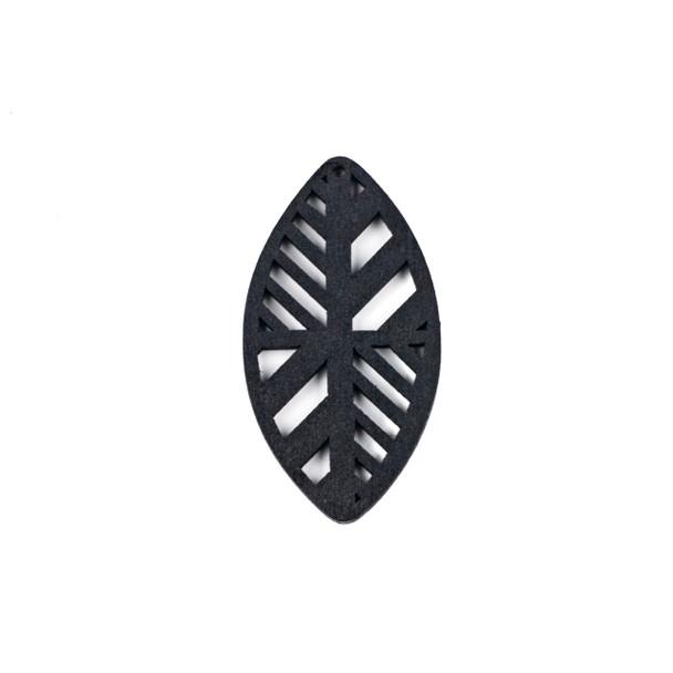Aspen Wood Laser Cut 32x60mm Black Geometric Marquis Pendant - 1 per bag