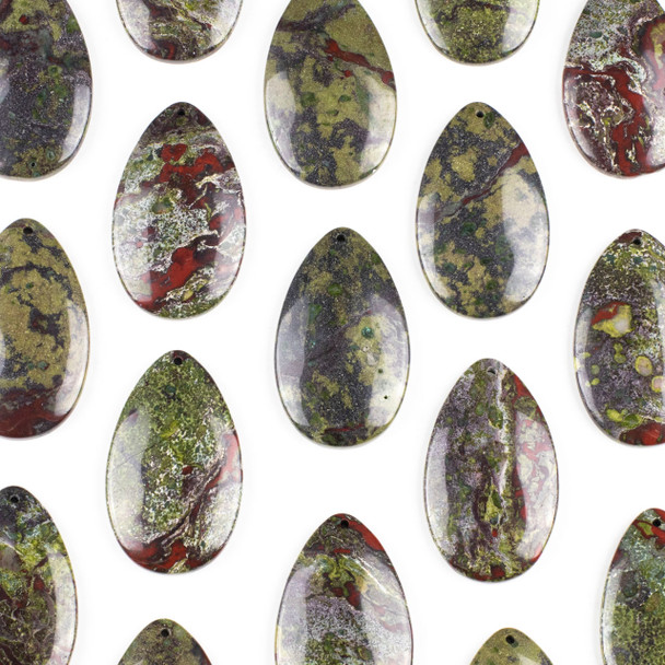 Dragon Blood Jasper 30x50mm Top Front to Back Drilled Teardrop Pendant with a Flat Back - 1 per bag