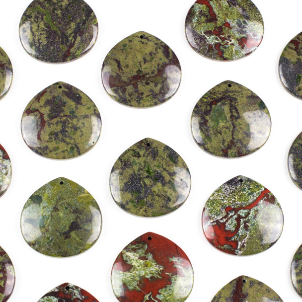 Dragon Blood Jasper 40mm Top Front to Back Drilled Almond Pendant with a Flat Back - 1 per bag