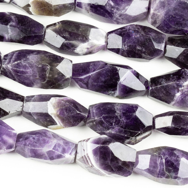 Amethyst 10-20x20-30mm Faceted Nugget Beads - 16 inch strand