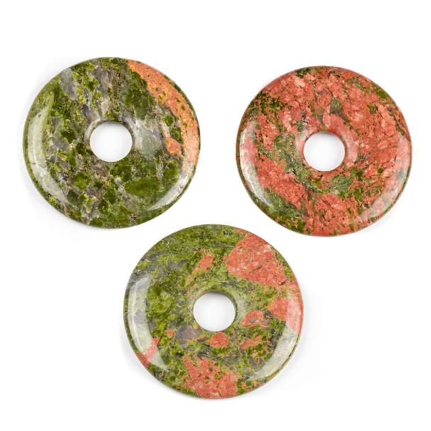 Unakite 44mm Donut Pendant - 1 per bag