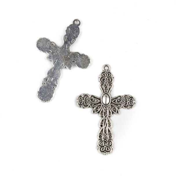 Silver Pewter 28x43mm Rosary Cross Pendant with Oval Center - 10 per bag