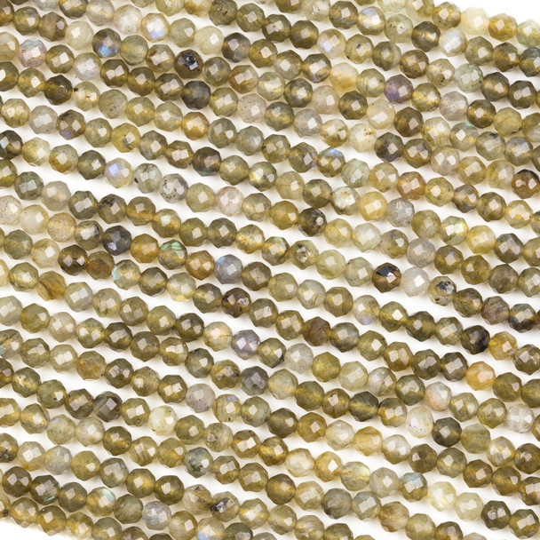 Gold Labradorite 4mm Faceted Round Beads - 15 inch strand