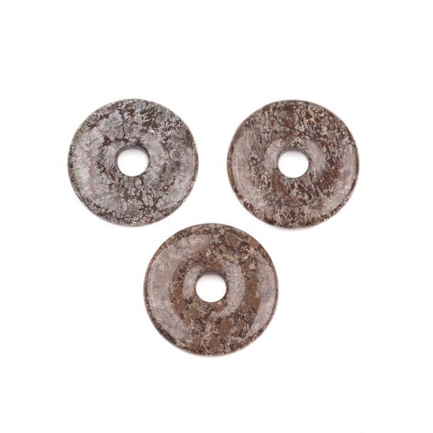 Brown Snowflake Obsidian 35mm Donut Pendant - 1 per bag