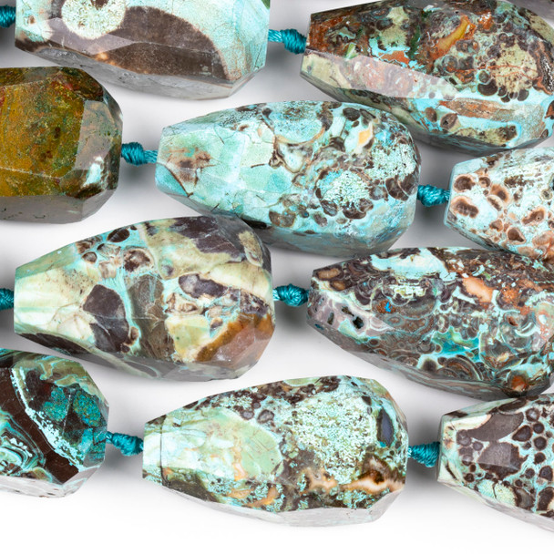 Dyed Agate Aqua and Brown 25x48mm Faceted Rounded Teardrop Beads - 15 inch strand