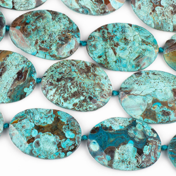 Dyed Agate Aqua and Brown 40x55mm Faceted Free Form Slab Beads - 16 inch strand
