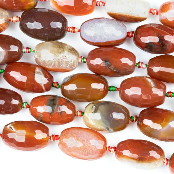 Dyed Agate Orange and White 18x26mm Faceted Nugget Beads - 16 inch knotted strand