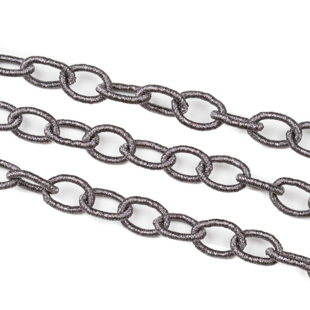 Fabric Chain - Graphite, 12x17mm Irregular Oval Links, 1 Foot