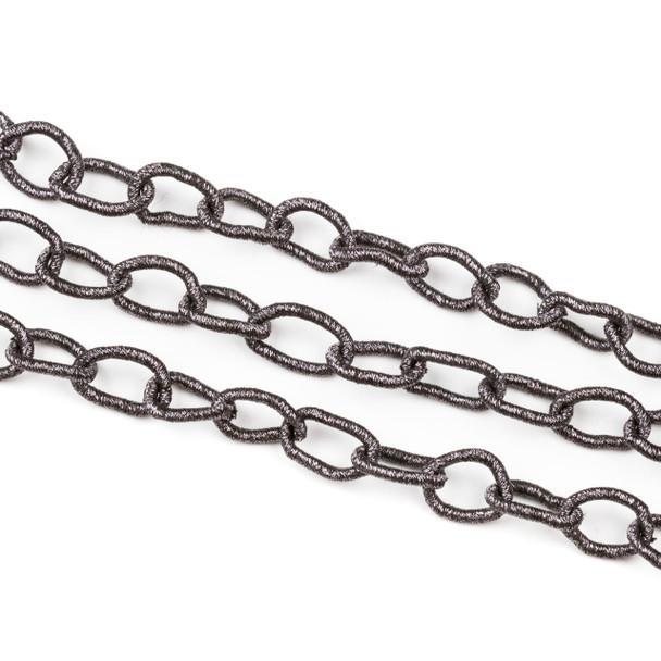 Fabric Chain - Graphite, 10x14mm Irregular Oval Links, 1 Foot