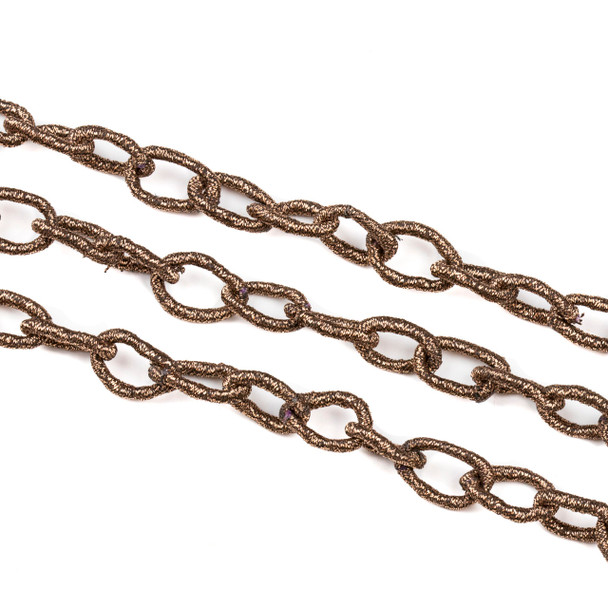 Fabric Chain - Vintage Copper, 10x14mm Irregular Oval Links, 1 Foot