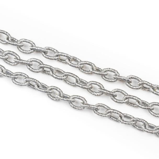 Fabric Chain - Silver, 9x12mm Irregular Oval Links, Precut 1 Foot Length