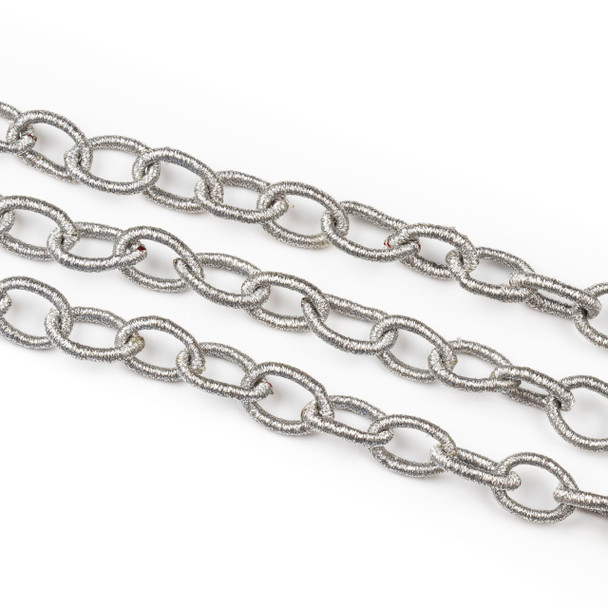 Fabric Chain - Silver, 10x15mm Irregular Oval Links, Precut 1 Foot Length