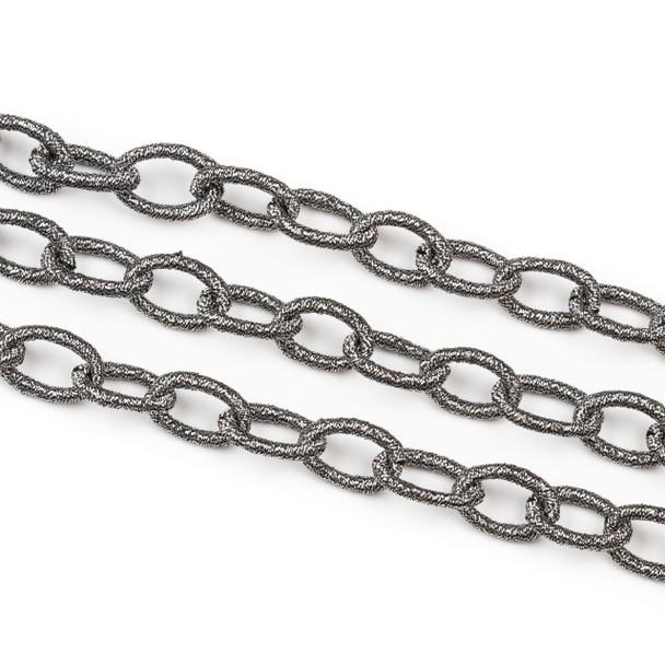 Fabric Chain - Gun Metal, 10x15mm Irregular Oval Links, Precut 1 Foot Length