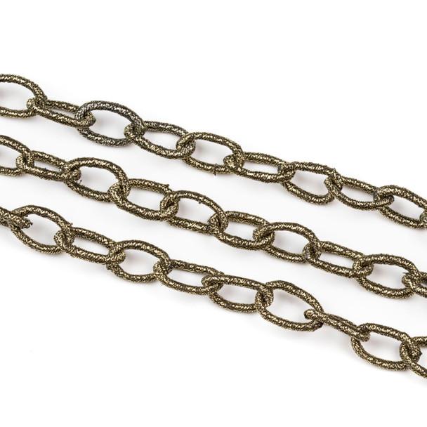 Fabric Chain - Bronze, 10x16mm Irregular Oval Links, Precut 1 Foot Length