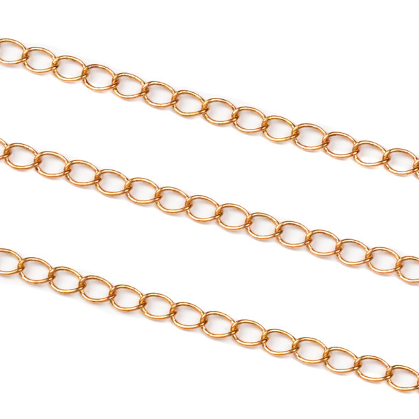 Copper Colored Brass Chain with 3x4mm Twisted Oval Links - 1 foot