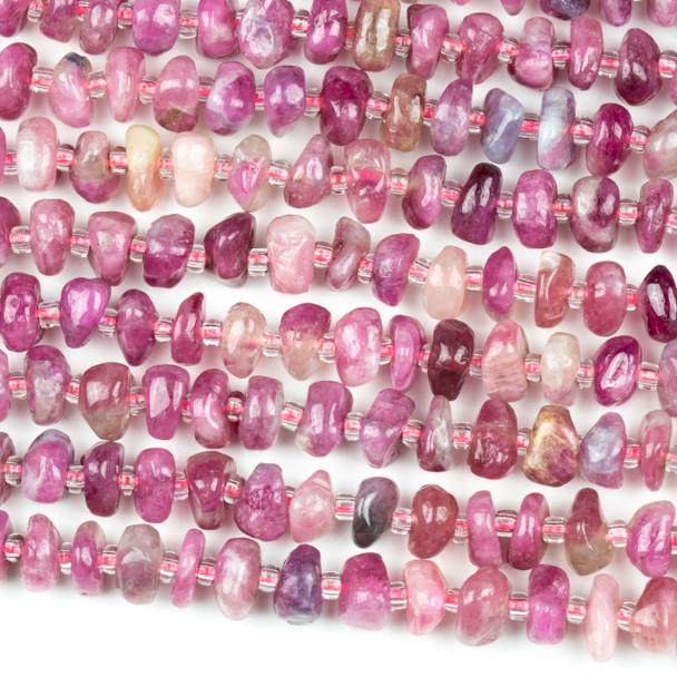 Pink Tourmaline 4x8mm Nugget Beads - 15 inch strand
