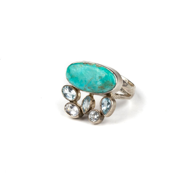 Turquoise and Blue Topaz Sterling Silver Adjustable Ring - #5075