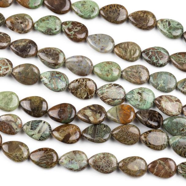 Snakeskin Jasper 10x14mm Teardrop Beads - 15 inch strand